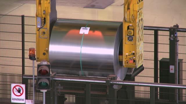 ms tu crane lifting steel sheet at thyssen steel ag / duisberg, north rhine-westphalia, germany - steel stock videos & royalty-free footage