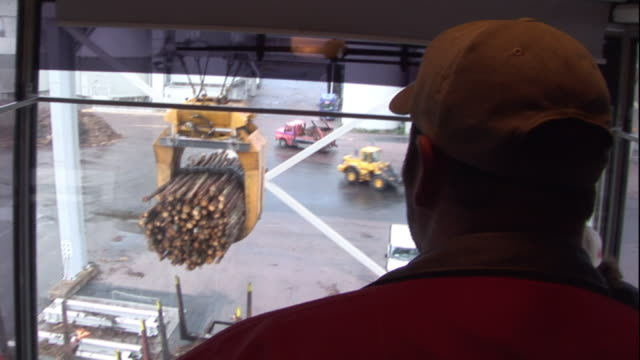 a crane operator directs the lifting of logs. - handhaben stock-videos und b-roll-filmmaterial