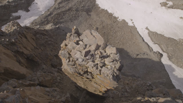 crane over barnacle geese, rock stack and cliff top precipice, greenland - cliff stock videos & royalty-free footage