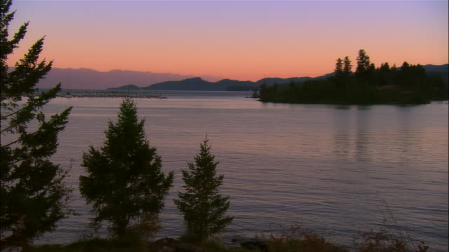 crane past vegetation on shore of flathead lake to view of small island at sunset / montana - flathead lake stock videos and b-roll footage