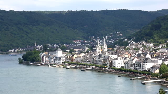 Crane shot: aerial Boppard cityscape Germany