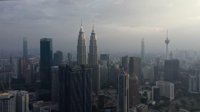 crane shot, aerial of kuala lumpur downtown district, malaysia - crane shot stock videos & royalty-free footage
