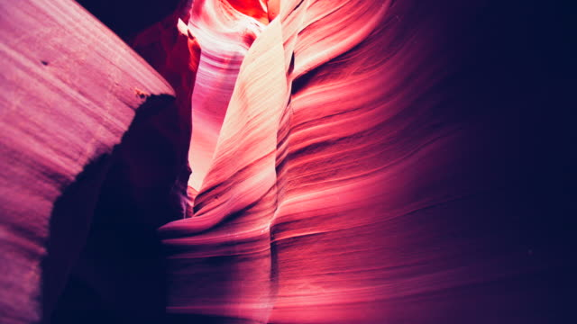 ws crane shot beautiful rock formations of antelope canyon - horizontal stock videos & royalty-free footage