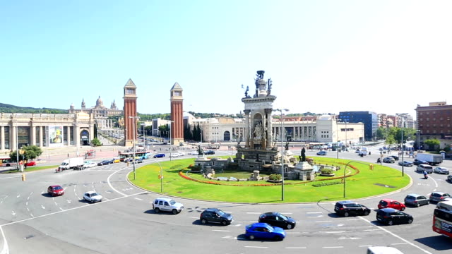 HD Crane shot: Becelona Espana plaza Town square Spain