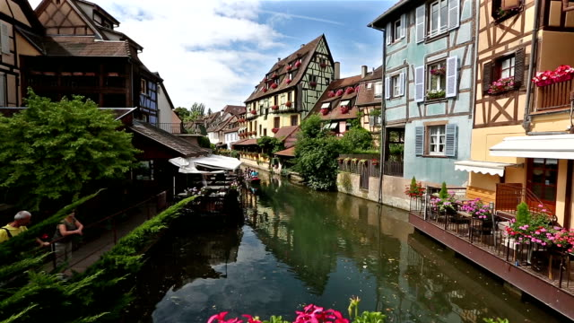 crane shot: colmar village cityscape alsace france in summer - crane shot stock videos & royalty-free footage