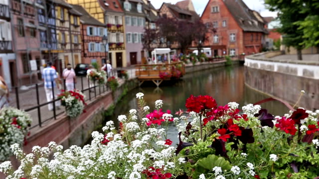 crane shot: colmar village cityscape alsace france in summer - crane shot stock videos & royalty-free footage