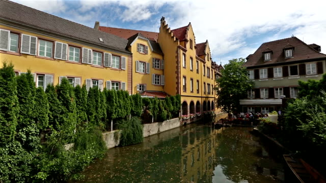 crane shot: colmar village cityscape alsace france in summer - french culture stock videos & royalty-free footage