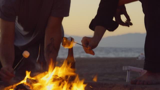 kran-shot - geröstete marshmallows am lagerfeuer essen - in den dreißigern stock-videos und b-roll-filmmaterial