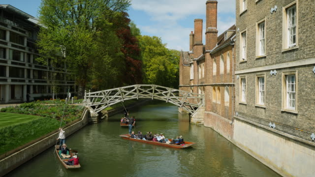 Crane shot from a bridge of people punting on the River Cam, Cambridge.