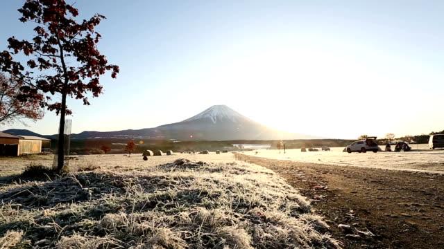 Crane shot: Fujisan sunrise at Fumoto Para Camping