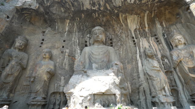 Crane shot: Longmen Grottoes Luayang Henan China