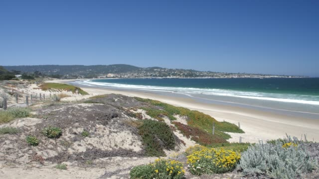 crane shot of beach and pacific ocean, monterey peninsula, california, united states of america, north america - north pacific ocean stock videos & royalty-free footage