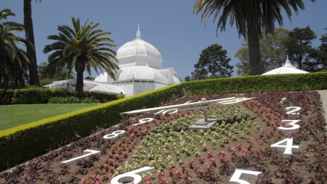 crane shot of conservatory of flowers in golden gate park, san francisco, california, united states of america, north america - botanical garden stock videos & royalty-free footage