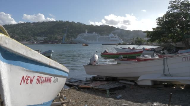 crane shot of cruise ship from fish marketing corporation boat marina, castries, st. lucia, windward islands, west indies, caribbean, central america - crane shot stock videos and b-roll footage
