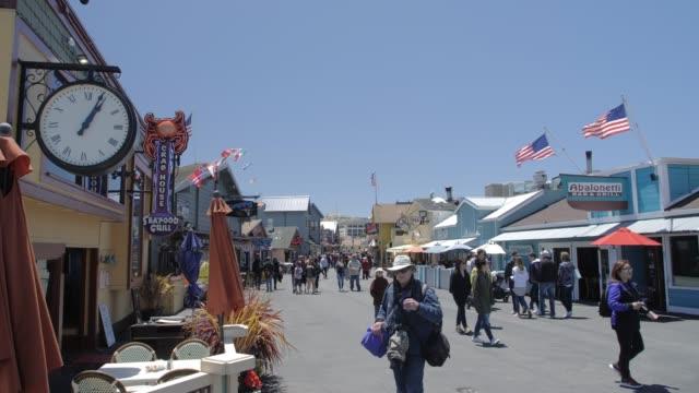 Crane shot of Fishermans Wharf, Monterey Bay, Peninsula, Monterey, Pacific Ocean, California, United States of America, North America