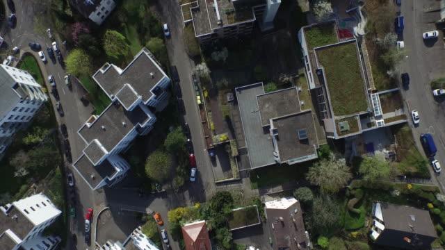 Crane shot of residential buildings