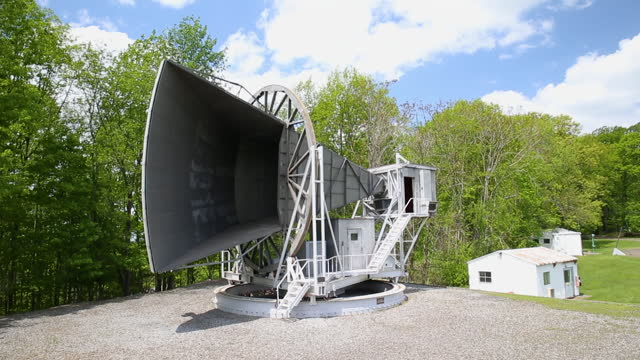 crane shot of the holmdel horn antenna in new jersey - wop productions stock-videos und b-roll-filmmaterial