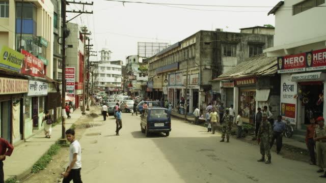 Crane shot over a busy street in Guwahati in Assam, India.