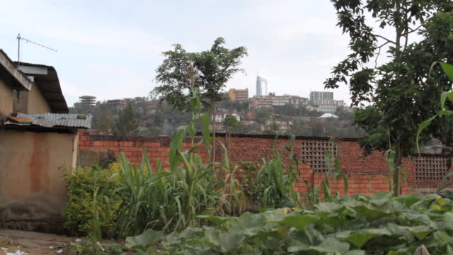 crane shot over a garden wall towards high rise buildings on a hill in kigali. - crane shot stock videos & royalty-free footage