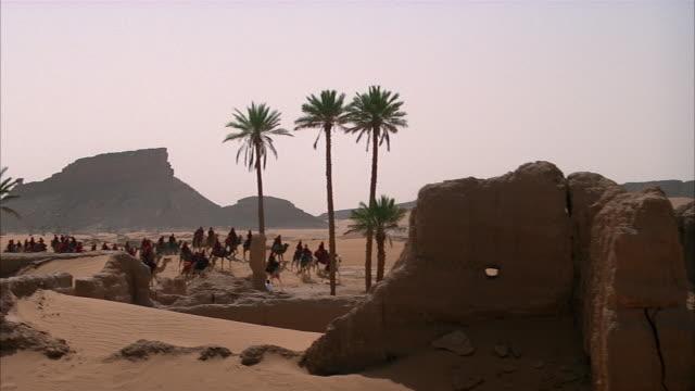 crane shot over ruins to caravan of camels traveling through desert / egypt - crane shot stock videos & royalty-free footage