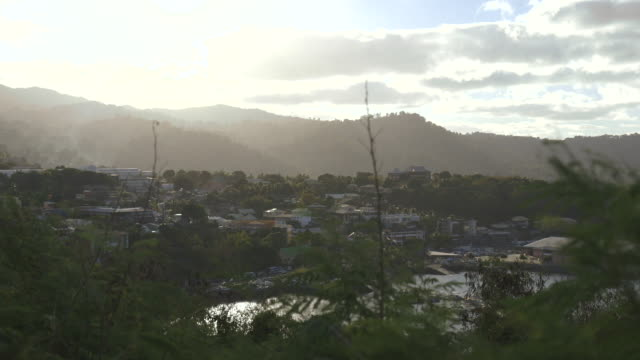 crane shot over trees to the city of mamoudzou on the island of mayotte. - crane shot stock videos & royalty-free footage