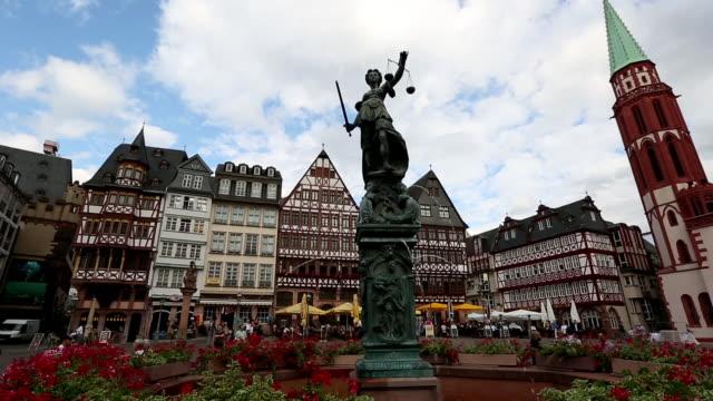 Crane shot: Pedestrian crowded at Romerberg Town square Frankfurt Germany