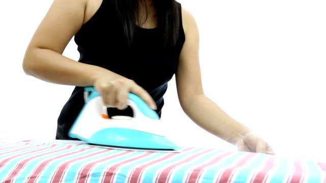 vídeos y material grabado en eventos de stock de crane shot: camisa de planchar - plancha