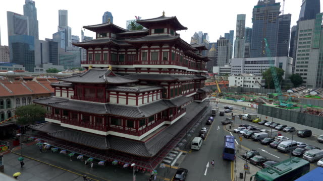 crane shot: singapore buddha tooth relic temple - antiquities stock videos and b-roll footage