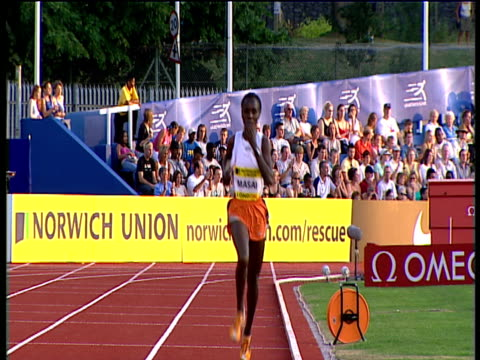 crane up as edith masai opens up huge lead from rest of field who struggle to keep her in sight women's 5000m 2004 crystal palace athletics grand... - dynamics stock videos and b-roll footage