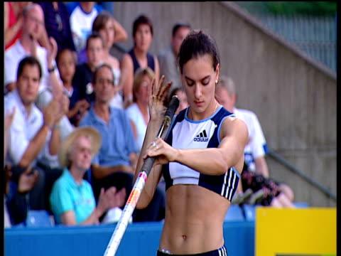Crane up as Yelena Isinbayeva sets new World Record of 490m Women's Pole Vault 2004 Crystal Palace Athletics Grand Prix London