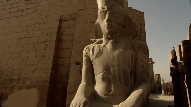 crane up large monument to ramses ii, egypt - male likeness stock videos & royalty-free footage