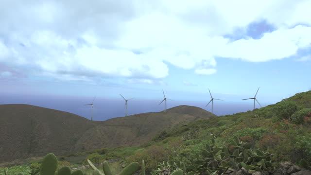 vídeos de stock, filmes e b-roll de crane up over a cactus to a wind farm on the island of el hierro. - hierro