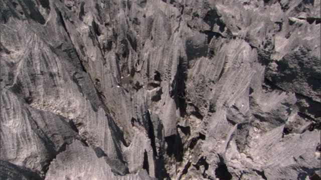 Crane up over eroded limestone karst Tsingy, Ankarana, Madagascar