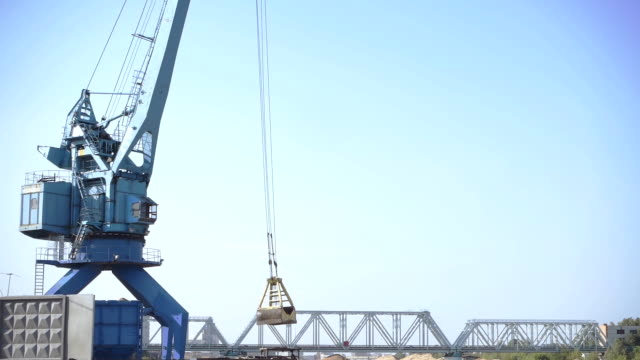 Crane working in a river port
