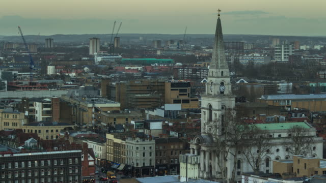 cranes and spires in london - timelapse - east london stock videos and b-roll footage