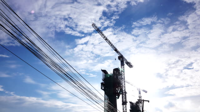 cranes in construction site - hanging gallows stock videos & royalty-free footage
