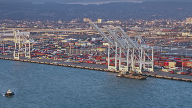 aerial cranes in port of oakland in california, usa - oakland california stock videos & royalty-free footage