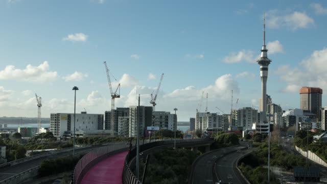 tl / ws / cranes on auckland city skyline - crane stock videos & royalty-free footage