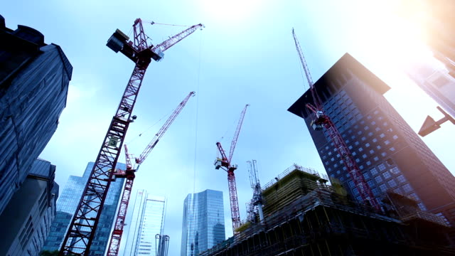Cranes on Construction Site, time lapse