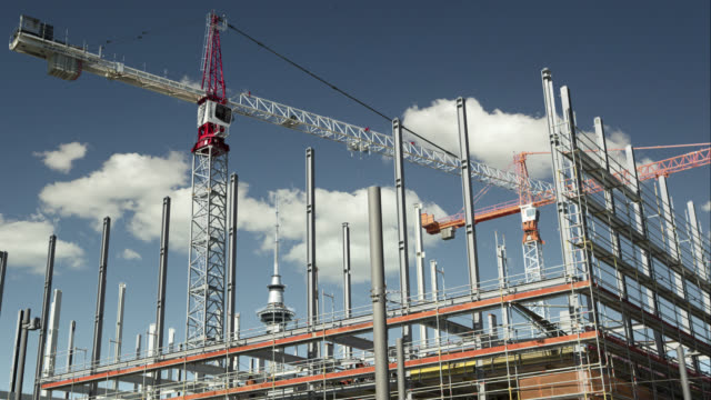 tl cranes on construction site - building activity stock videos & royalty-free footage