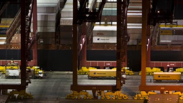 TL, HA, LS Cranes unload a container ship onto trucks at night / Busan, South Korea