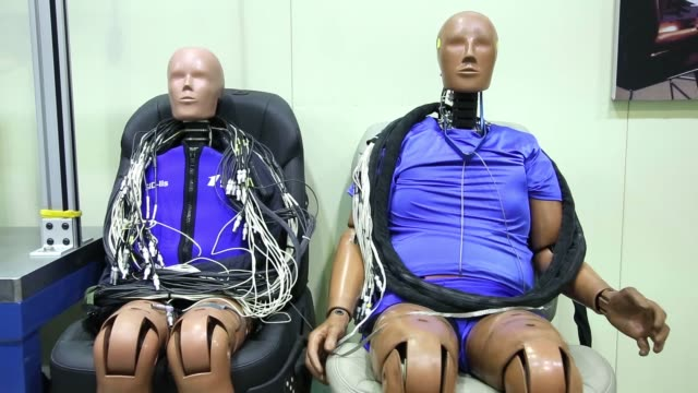 crash test dummies sit at the korea automobile insurance repair research and training center , operated by the korea insurance development institute... - crash test stock videos & royalty-free footage
