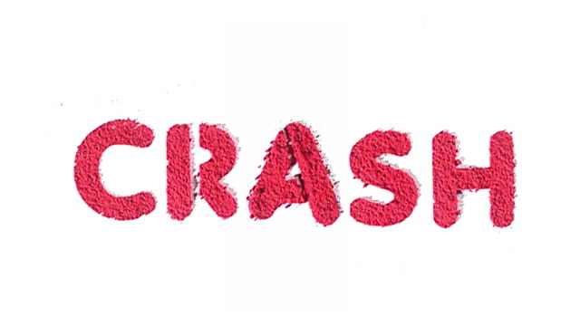 Crash written in exploding red text made from powder.