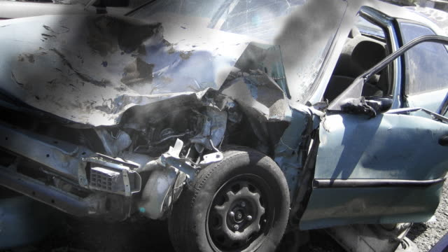 crashed car in traffic accident - road accident stock videos & royalty-free footage
