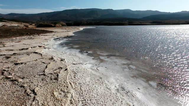 crater dry lake assal. surface covered with salt. - dead sea stock videos and b-roll footage
