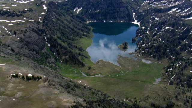 Crater Lake  - Aerial View - Wyoming,  Fremont County,  helicopter filming,  aerial video,  cineflex,  establishing shot,  United States