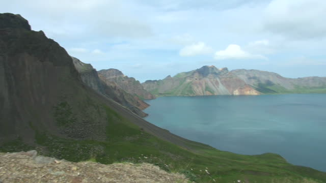 crater lake of baekdu mountain on the border of north korea and china - north korea stock videos & royalty-free footage