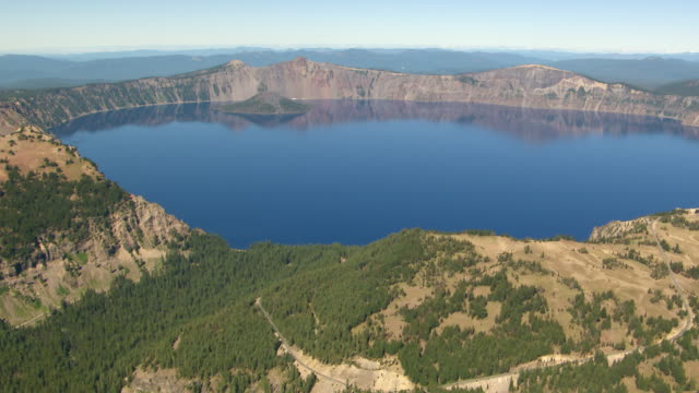 WS AERIAL Crater Lake showing Wizard Island / Oregon, United States