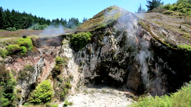 crater of the moon geyser field, rotorua, new zealand - volcanic crater stock videos & royalty-free footage