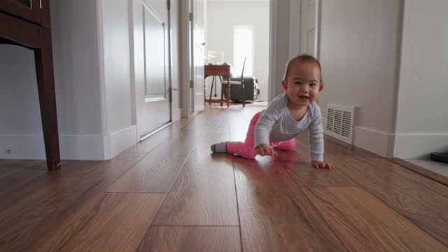 crawling baby - flooring stock videos & royalty-free footage